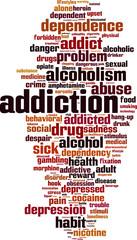 Addiction word cloud concept. Vector illustration