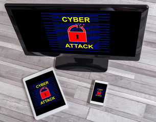 Cyber attack concept on different devices