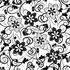 Printed roller blinds Floral black and white floral texture