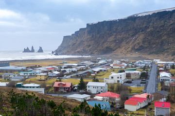 View of Vik City, Iceland