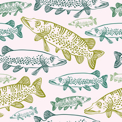 seamless pattern with pikes. Vector fish.