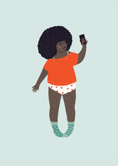 Illustration of woman taking selfie in pajamas