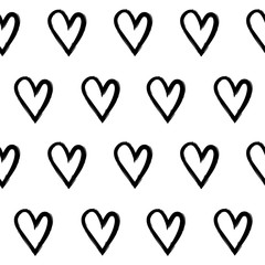 Abstract seamless pattern with hand draw hearts