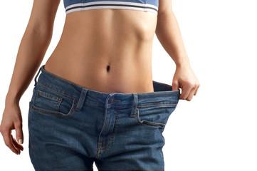 Successful weight loss, beautiful female waist, diet concept