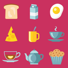 Set of breakfast food flat icons isolated on pink background. Milk, egg, bread, cheese, cup of tea, cupcake vector illustratuion