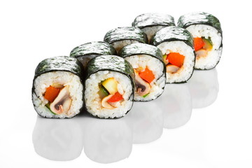 Sushi roll with shiitake isolated on white