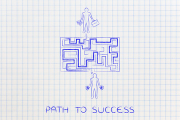 entrepreneur on its way to become rich, maze-looking path