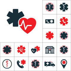 heart pulse star life icon, medical set on white background