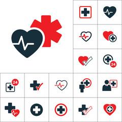 star life heart pulse icon, medical set on white background