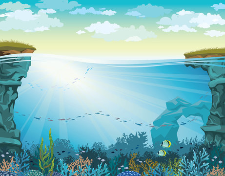 Coral reef with fish and cloudy sky. Underwater sea.
