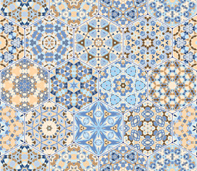 Vector set of blue and orange hexagonal patterns.