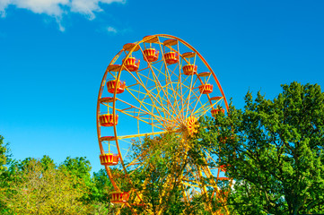 Ferris wheel in the park at summer