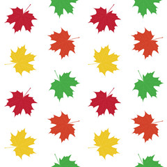 green yellow orange red maple leaves autumn pattern seamless vec