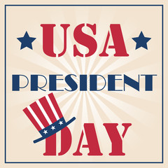 USA President Day Typography with American flag colors and burst background. Vector illustration for cards,