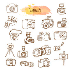Photo Cameras Hand Drawn Illustrations. Vector Video Camera Design.