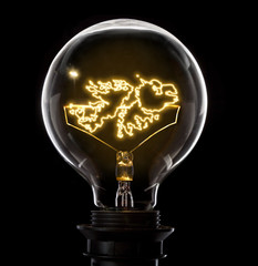 Lightbulb with a glowing wire in the shape of Falkland Islands (series)