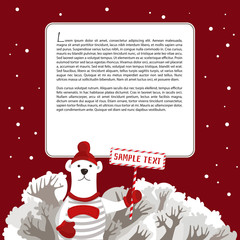 Background with snow-covered trees, snow, polar bear in a cap and a striped shirt holding a plate. White square on a red background with snowflakes, place for your text. Vector illustration.
