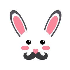 Icono plano cabeza de conejo con bigote kawaii en fondo blanco