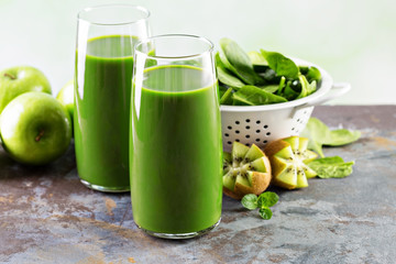 Green juice in tall glasses