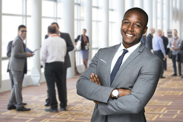 Corporate event portrait of an african american team worker enjoying social event