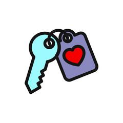 heart key icon illustration