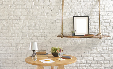 wood and wooden furniture with hanger  brick wall interior concept