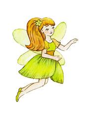 Little Cute Magic Fairy. Cute Girl in Light Dress. Watercolor illustration. Kids clipart