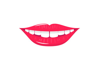 Flat laughing mouth with white teeth and red lips