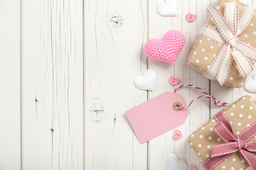 Valentine's day background with hearts and gift boxes