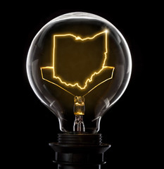 Lightbulb with a glowing wire in the shape of Ohio (series)