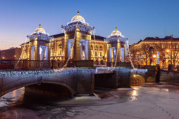 Saint Petersburg Lomonosov Bridge wiht Christmas illumination, R