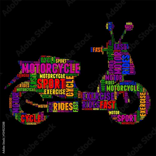 quot motorcycle typography word cloud colorful vector illustration quot stock image and royalty free
