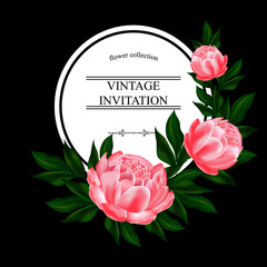Vintage Invitation, label or card with a delicate bouquet of peonies