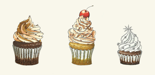 hand-drawn illustration of three different cupcakes