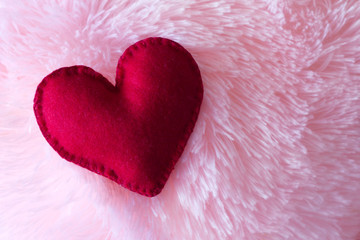 big heart made of felt closeup on
