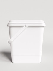 Plastic container packaging for food. 3D illustration