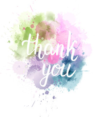 Watercolored blot with Thank you message