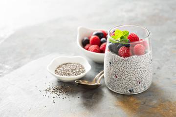 Vanilla chia pudding with fresh berries