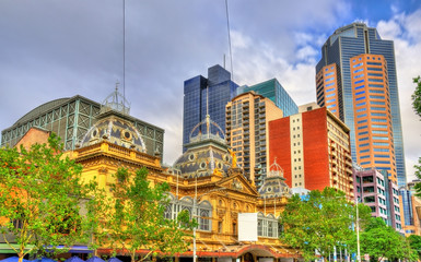 The Princess Theatre and skyscrapers in Melbourne, Australia