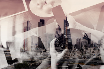 double exposure of hipster hand using smart phone for mobile pay