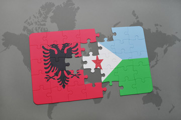 puzzle with the national flag of albania and djibouti on a world map