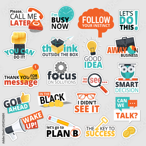 Set of flat design business stickers isolated vector illustrations for business communication social network