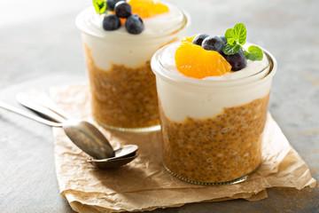 Orange chia pudding with coconut yogurt