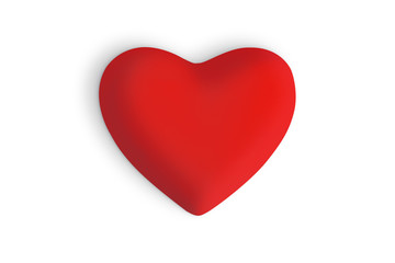 Red love heart on a white background