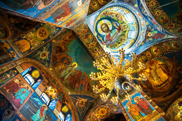 Church of the Savior on Spilled Blood interior in St petersburg, Russia