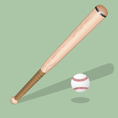 Baseball equipment: a bat,  ball and  helmet. Vector realistic illustration.