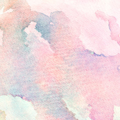 Abstract hand drawn watercolor background on textured paper in light blue and pink shades