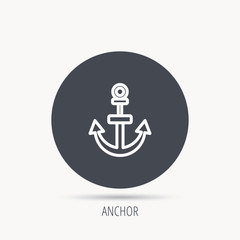 Anchor icon. Nautical drogue sign. Sea and sailing symbol. Round web button with flat icon. Vector