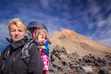 Trekker with a child at Pico del Teide