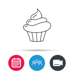 Cupcake icon. Dessert cake sign. Delicious bakery food symbol. Group of people, video cam and calendar icons. Vector